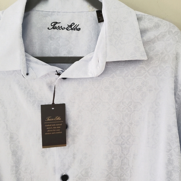 NWT Tasso Elba Blue Button Front Dress Shirt